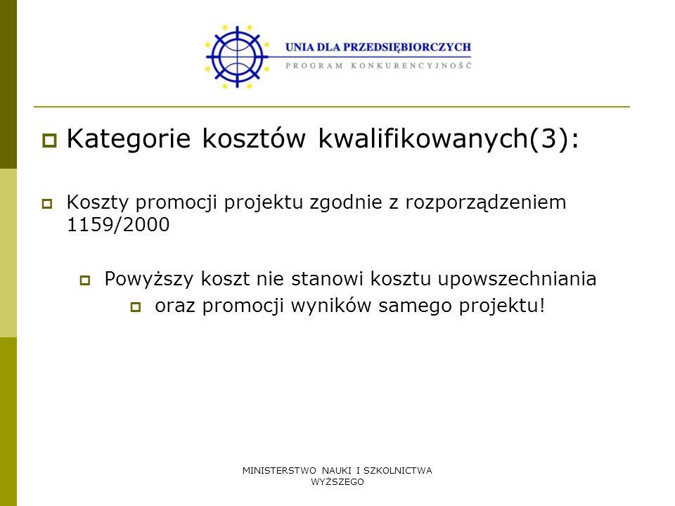 Kategorie kosztów kwalifikowanych(3):