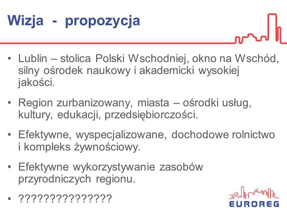 Wizja - propozycja Lublin – stolica Polski Wschodniej, okno na Wschód, silny ośrodek naukowy i akademicki wysokiej jakości.