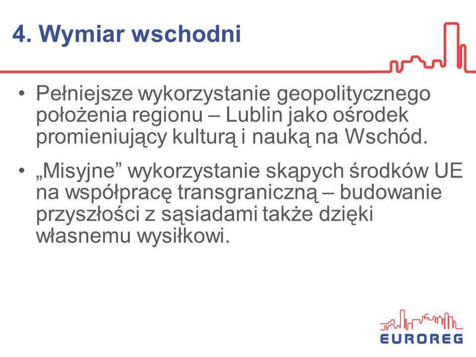 4. Wymiar wschodni Pełniejsze wykorzystanie geopolitycznego położenia regionu – Lublin jako ośrodek promieniujący kulturą i nauką na Wschód.