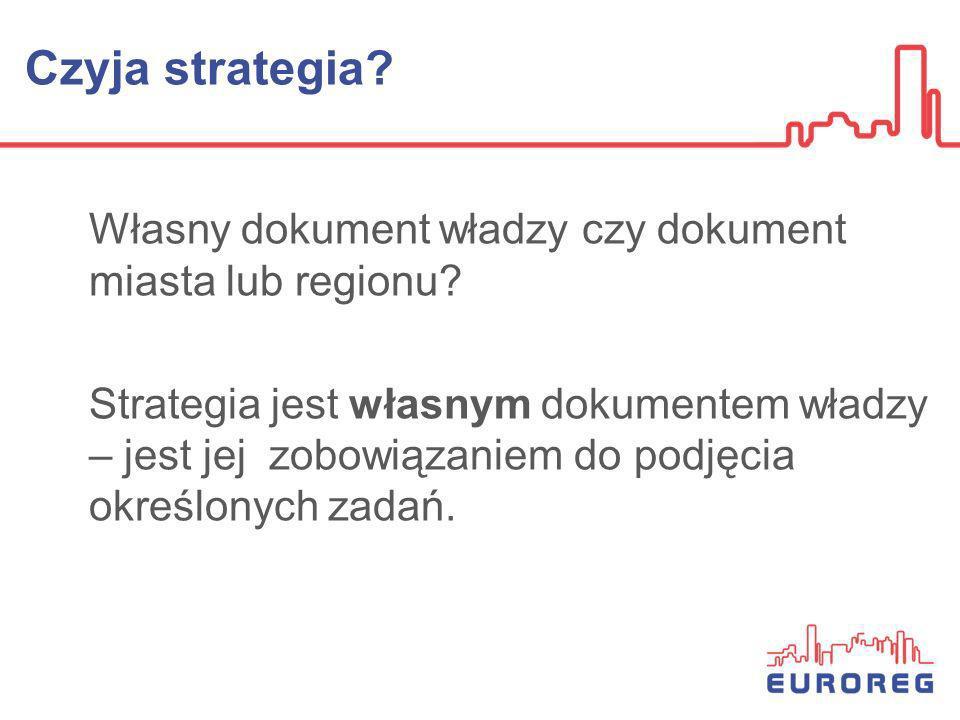 Czyja strategia Własny dokument władzy czy dokument miasta lub regionu