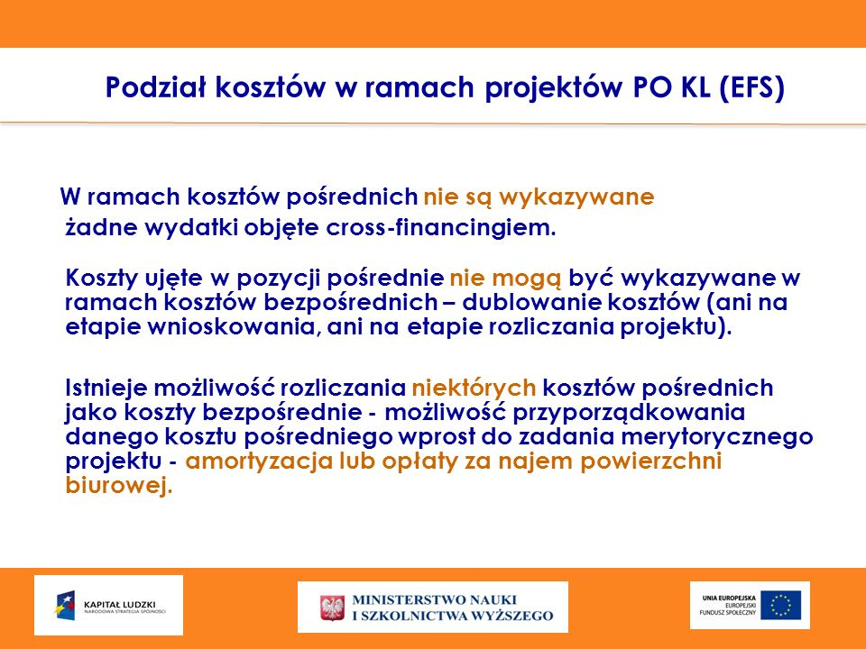 Podział kosztów w ramach projektów PO KL (EFS)