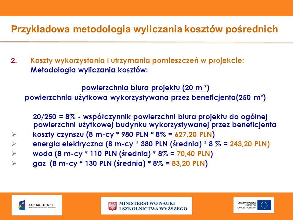 Przykładowa metodologia wyliczania kosztów pośrednich