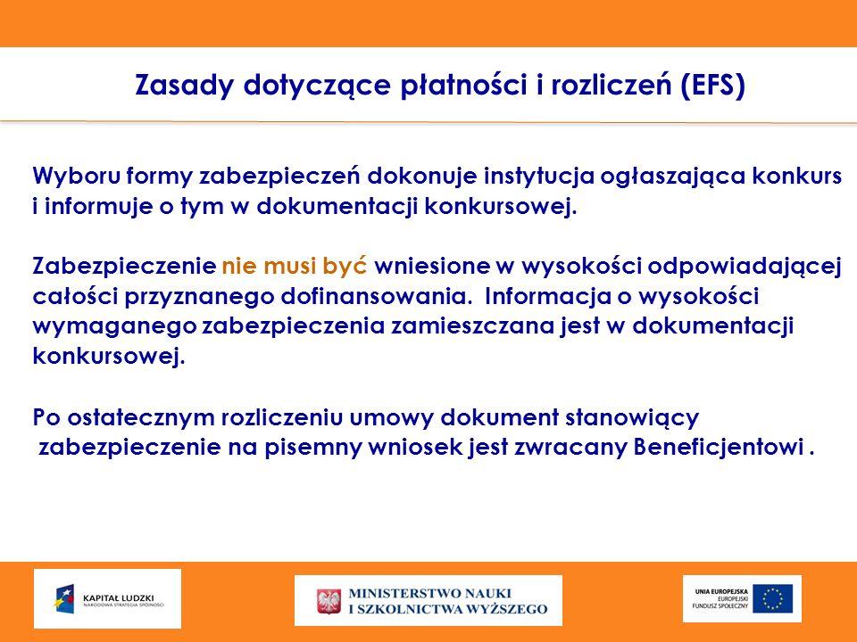 Zasady dotyczące płatności i rozliczeń (EFS)