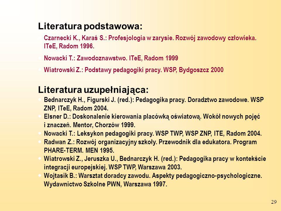 Literatura podstawowa: