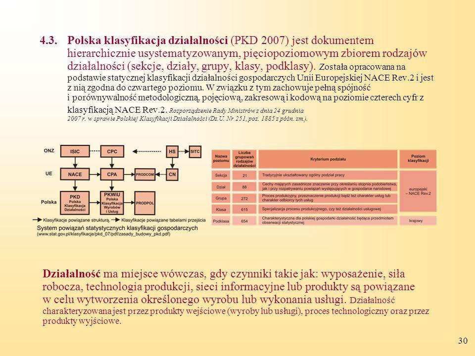 4.3. Polska klasyfikacja działalności (PKD 2007) jest dokumentem hierarchicznie usystematyzowanym, pięciopoziomowym zbiorem rodzajów działalności (sekcje, działy, grupy, klasy, podklasy). Została opracowana na podstawie statycznej klasyfikacji działalności gospodarczych Unii Europejskiej NACE Rev.2 i jest z nią zgodna do czwartego poziomu. W związku z tym zachowuje pełną spójność i porównywalność metodologiczną, pojęciową, zakresową i kodową na poziomie czterech cyfr z klasyfikacją NACE Rev.2. Rozporządzenie Rady Ministrów z dnia 24 grudnia 2007 r. w sprawie Polskiej Klasyfikacji Działalności (Dz.U. Nr 251, poz. 1885 z późn. zm.).