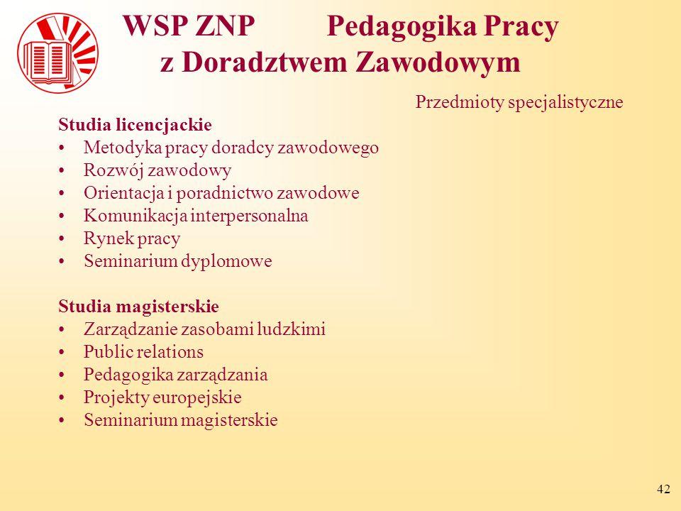 WSP ZNP Pedagogika Pracy z Doradztwem Zawodowym