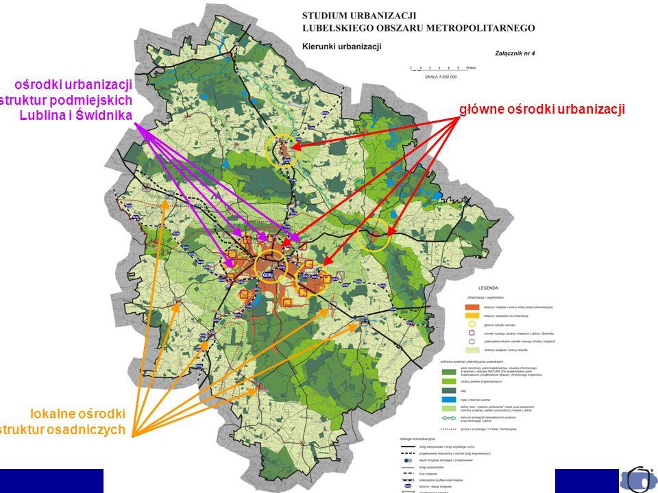 ośrodki urbanizacji struktur podmiejskich. Lublina i Świdnika. główne ośrodki urbanizacji. lokalne ośrodki.