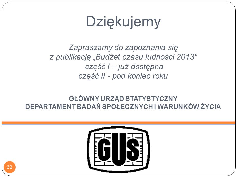 Dziękujemy ankieterom i respondentom za wytrwałość i zaangażowanie w realizację trudnego i pracochłonnego badania budżetu czasu.