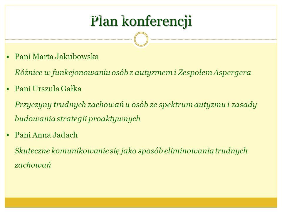 Plan konferencji Plan konferencji… Pani Marta Jakubowska