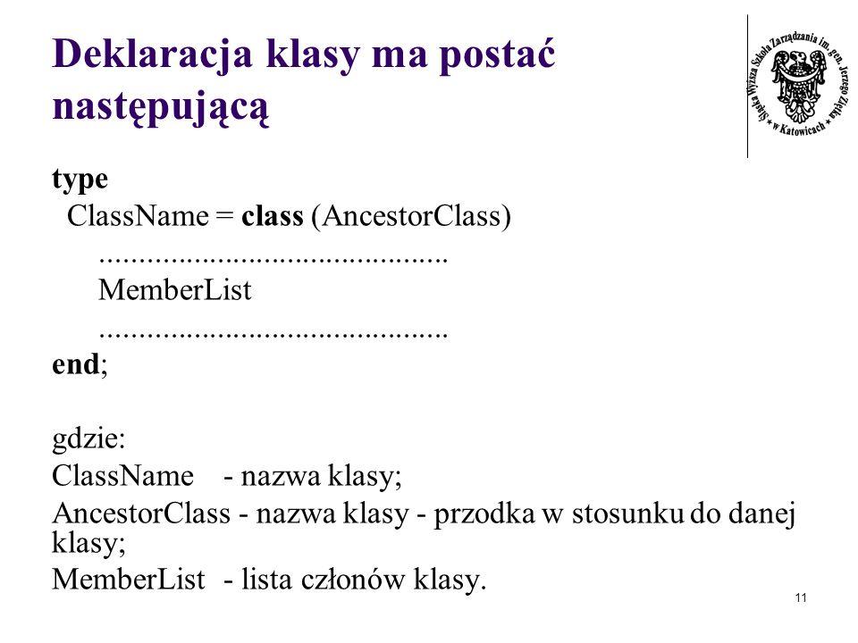 Deklaracja klasy ma postać następującą