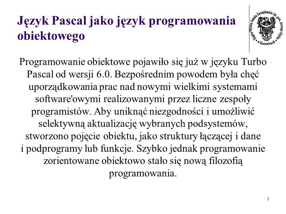 Język Pascal jako język programowania obiektowego