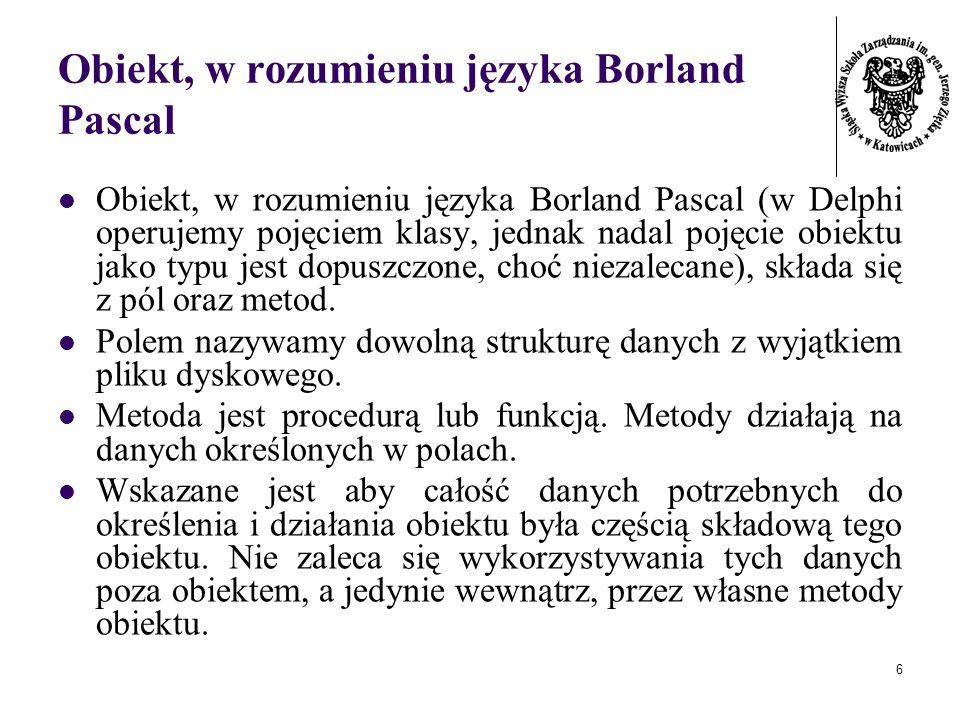 Obiekt, w rozumieniu języka Borland Pascal