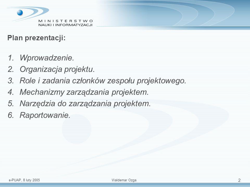 Role i zadania członków zespołu projektowego.