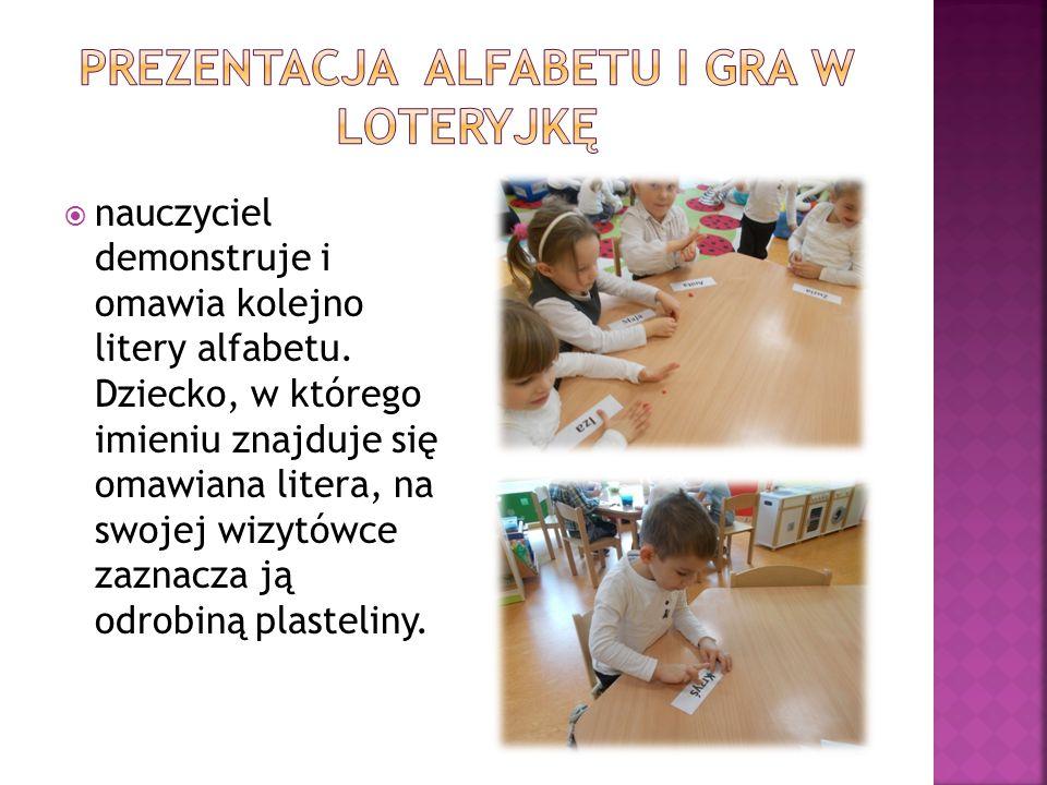 Prezentacja alfabetu i gra w loteryjkę