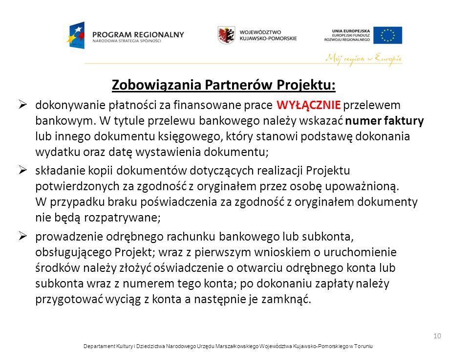 Zobowiązania Partnerów Projektu: