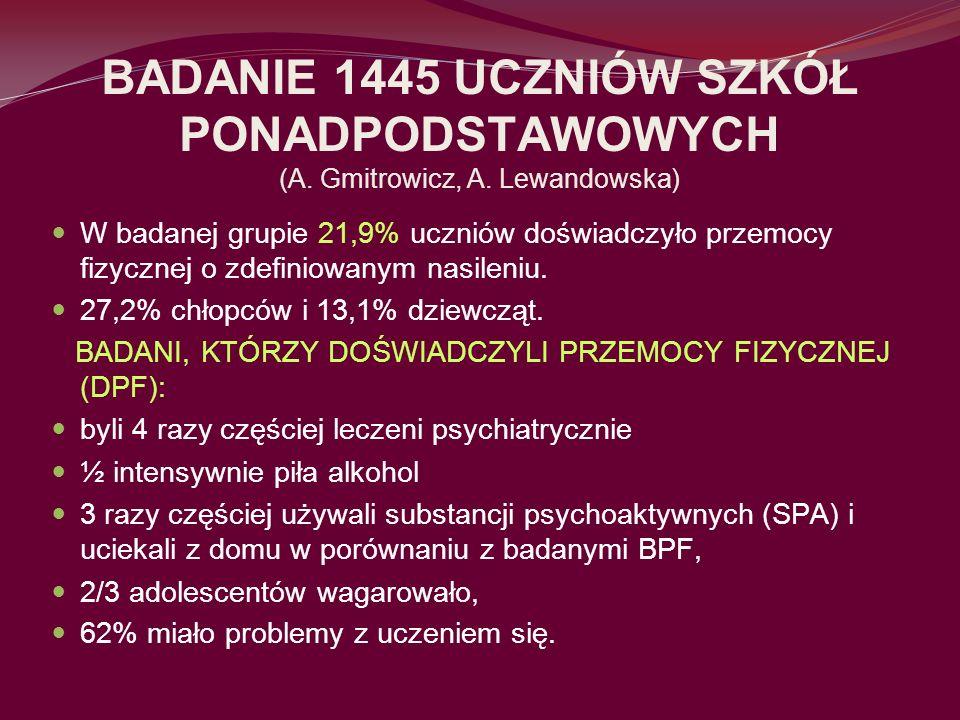 BADANIE 1445 UCZNIÓW SZKÓŁ PONADPODSTAWOWYCH (A. Gmitrowicz, A