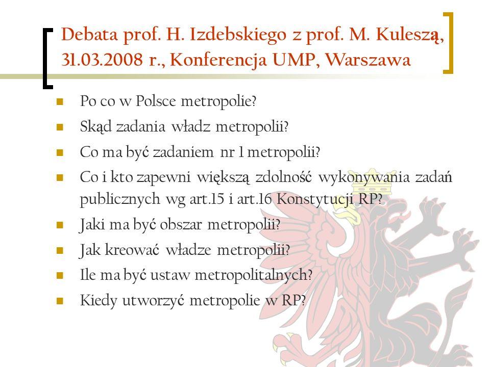 Debata prof. H. Izdebskiego z prof. M. Kuleszą, 31. 03. 2008 r