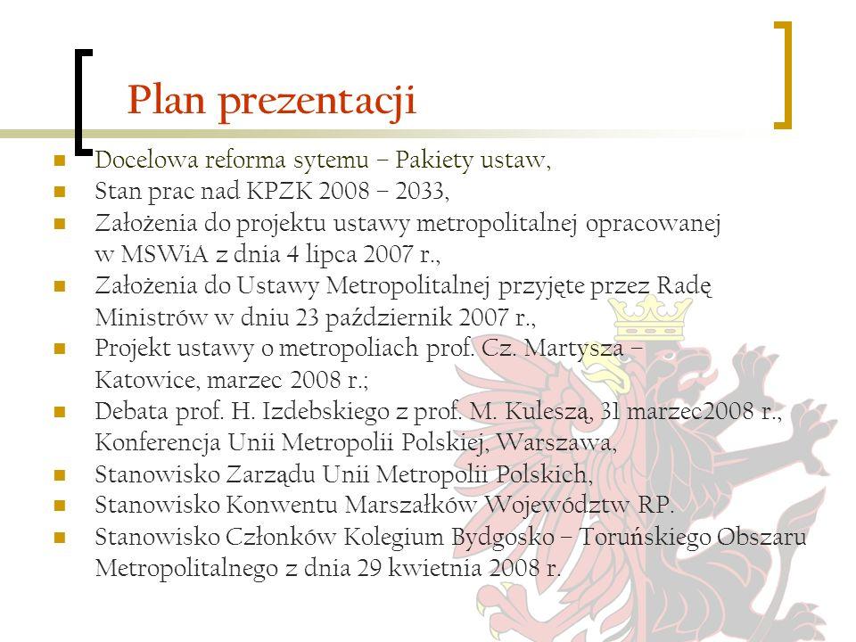 Plan prezentacji Docelowa reforma sytemu – Pakiety ustaw,