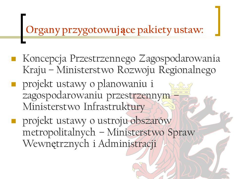 Organy przygotowujące pakiety ustaw: