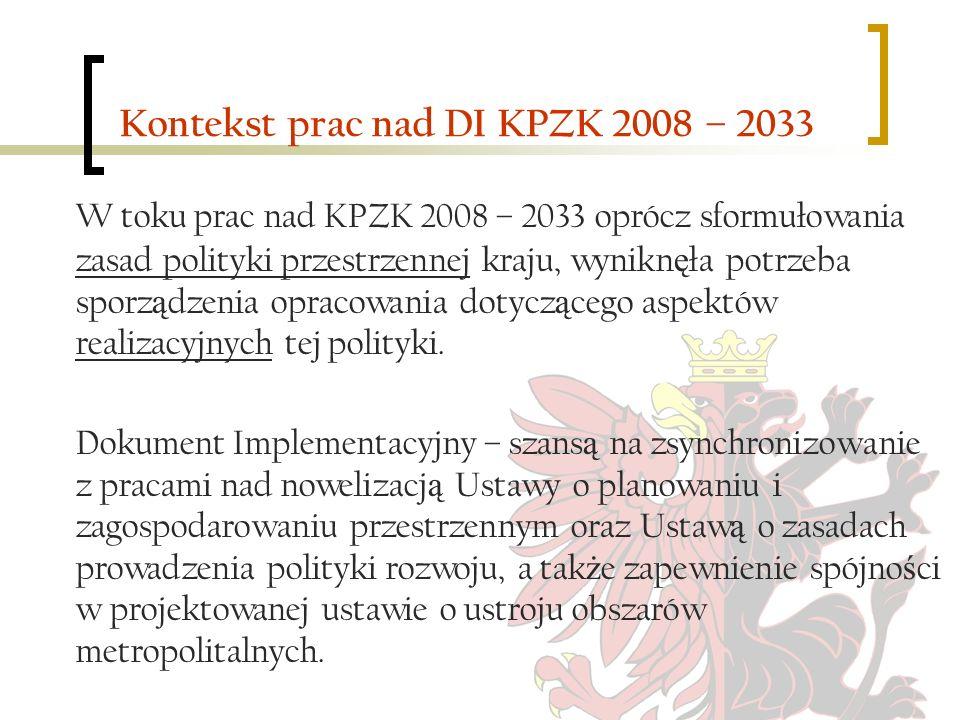 Kontekst prac nad DI KPZK 2008 – 2033