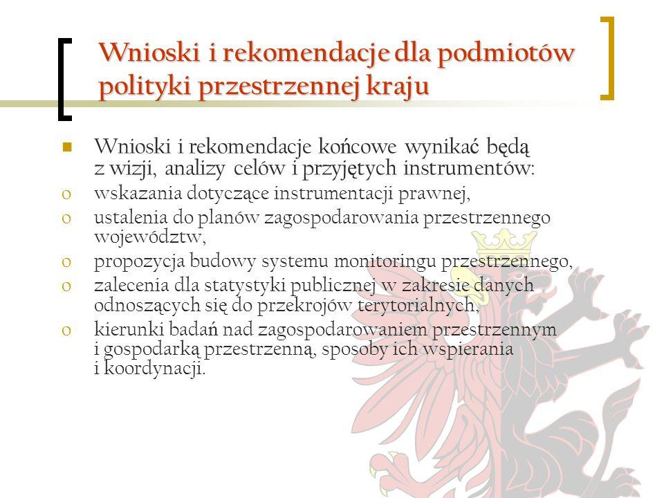Wnioski i rekomendacje dla podmiotów polityki przestrzennej kraju