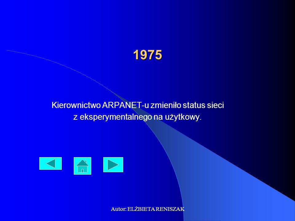 1975 Kierownictwo ARPANET-u zmieniło status sieci