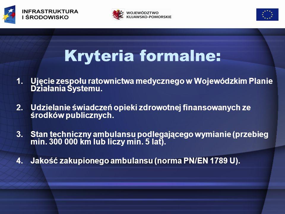 Kryteria formalne: Ujęcie zespołu ratownictwa medycznego w Wojewódzkim Planie Działania Systemu.