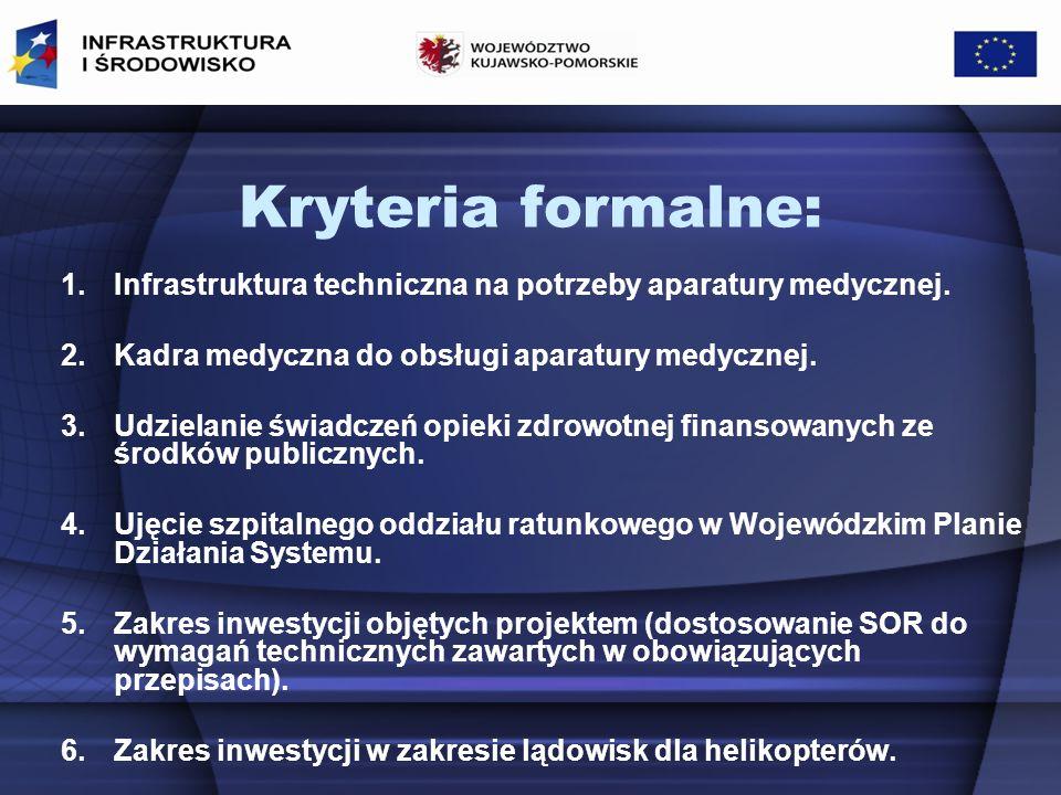 Kryteria formalne: Infrastruktura techniczna na potrzeby aparatury medycznej. Kadra medyczna do obsługi aparatury medycznej.
