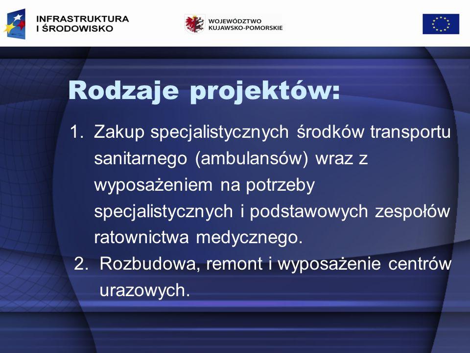 Rodzaje projektów: 1. Zakup specjalistycznych środków transportu