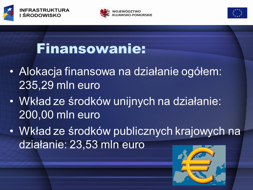Finansowanie: Alokacja finansowa na działanie ogółem: 235,29 mln euro