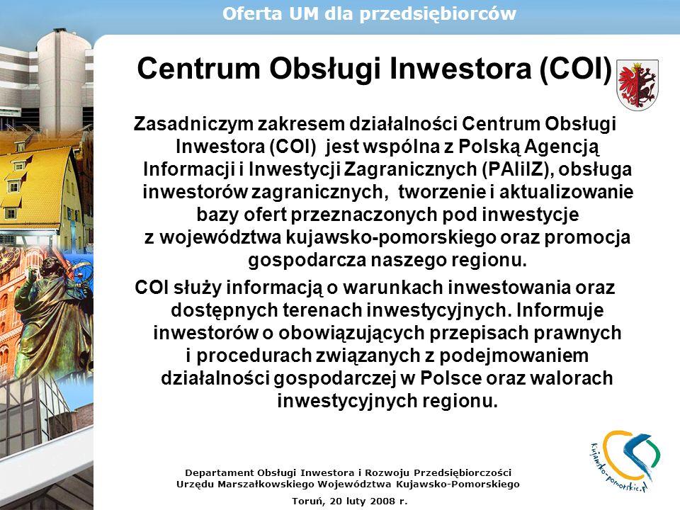 Oferta UM dla przedsiębiorców Centrum Obsługi Inwestora (COI)