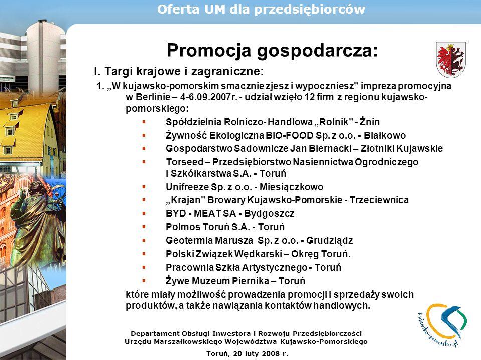 Oferta UM dla przedsiębiorców Promocja gospodarcza: