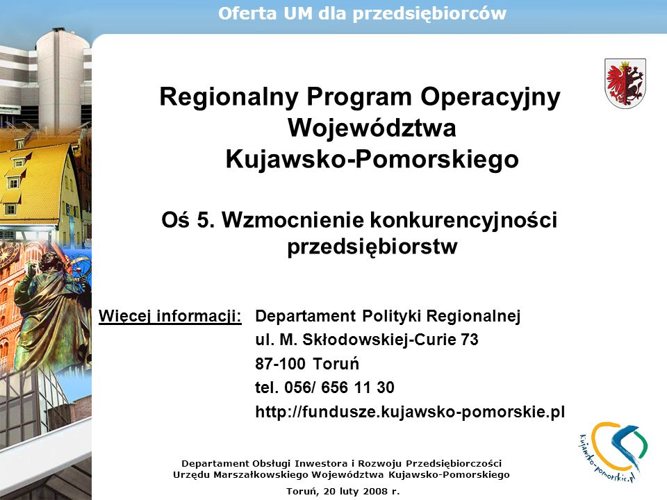 Regionalny Program Operacyjny Województwa Kujawsko-Pomorskiego