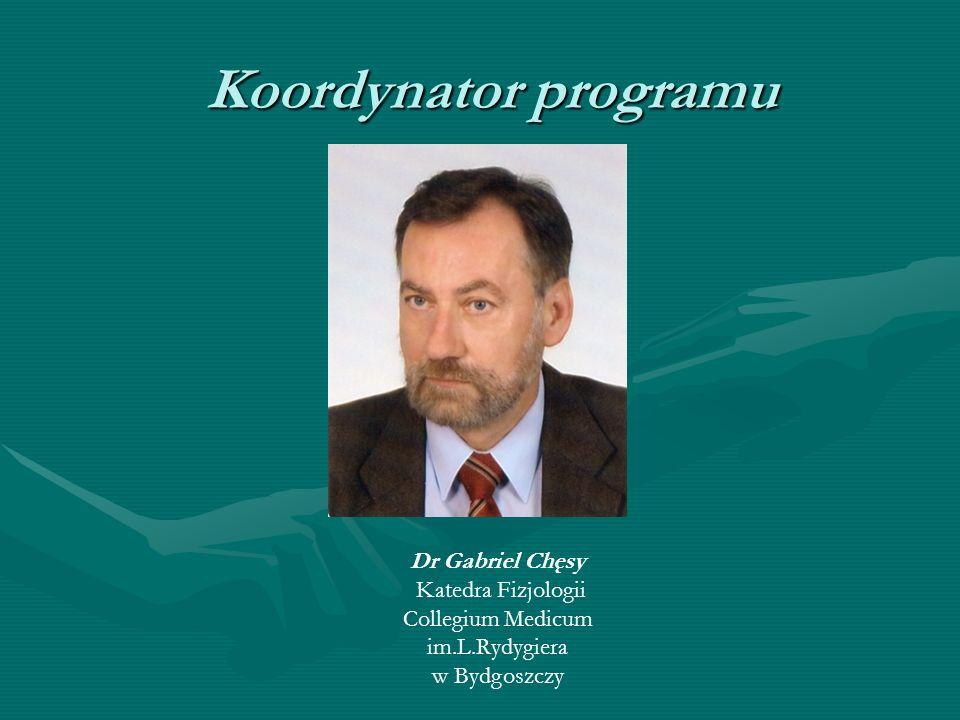 Koordynator programu Dr Gabriel Chęsy Katedra Fizjologii