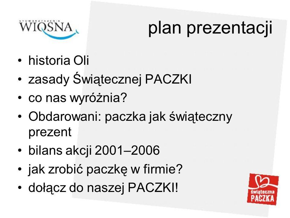 plan prezentacji historia Oli zasady Świątecznej PACZKI