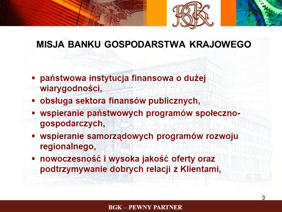 MISJA BANKU GOSPODARSTWA KRAJOWEGO