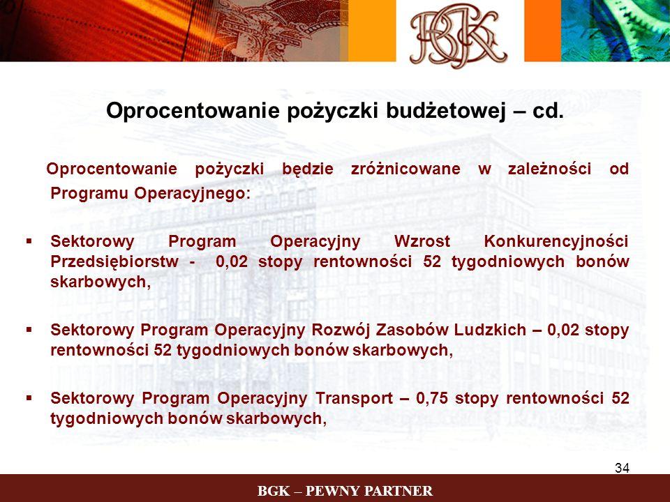 Oprocentowanie pożyczki budżetowej – cd.
