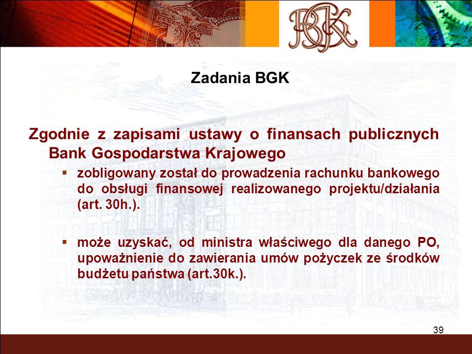 Zadania BGK Zgodnie z zapisami ustawy o finansach publicznych Bank Gospodarstwa Krajowego.