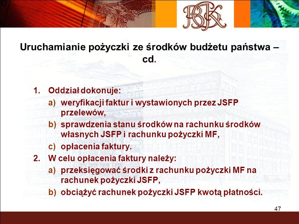 Uruchamianie pożyczki ze środków budżetu państwa – cd.