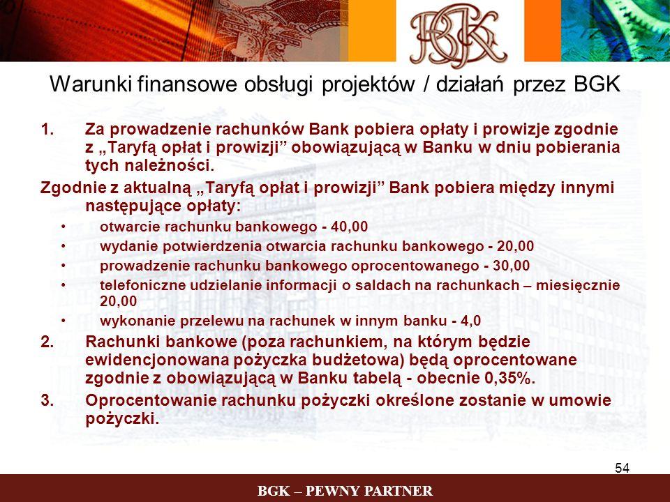 Warunki finansowe obsługi projektów / działań przez BGK