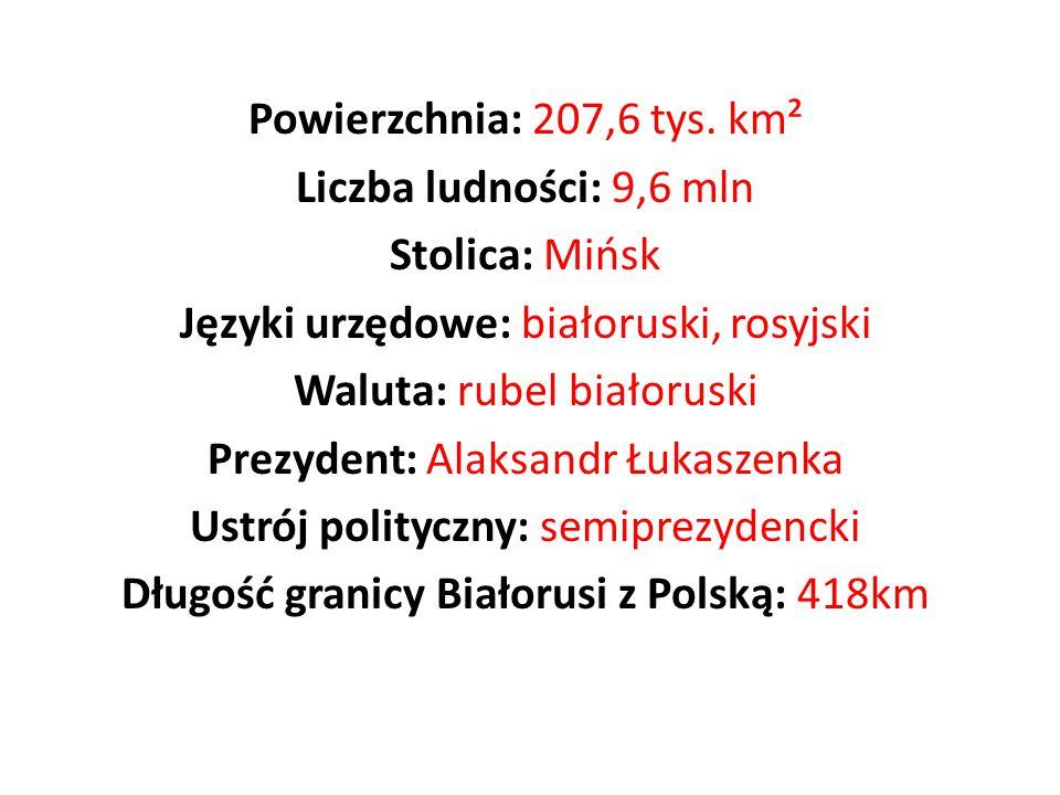 Języki urzędowe: białoruski, rosyjski Waluta: rubel białoruski