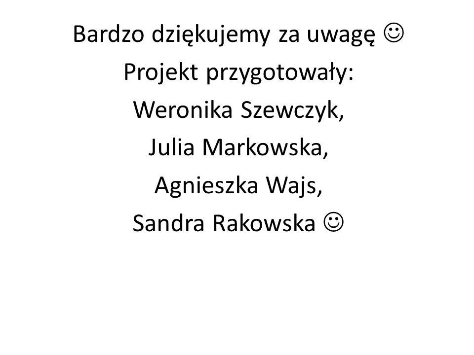 Bardzo dziękujemy za uwagę  Projekt przygotowały: Weronika Szewczyk,