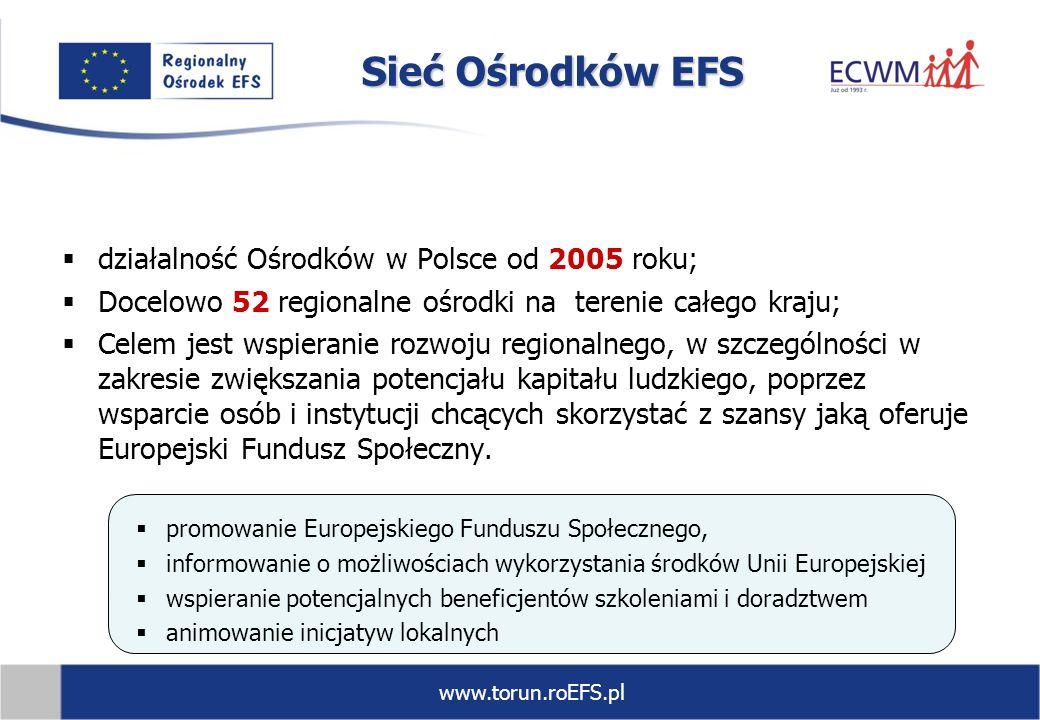 Sieć Ośrodków EFS działalność Ośrodków w Polsce od 2005 roku;