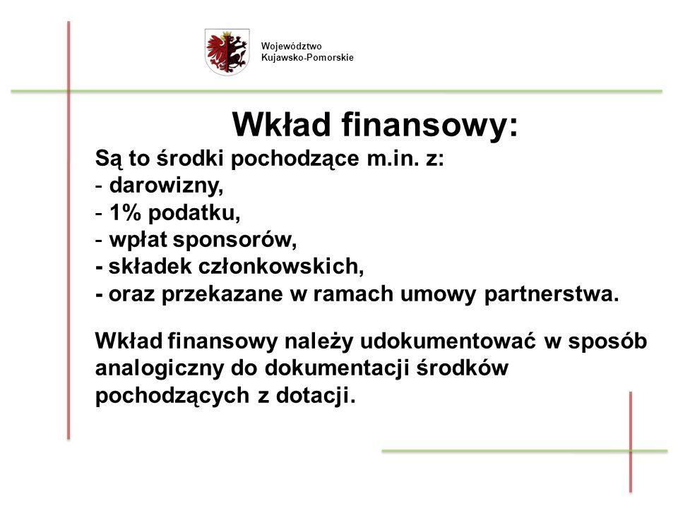 Wkład finansowy: Są to środki pochodzące m.in. z: darowizny,