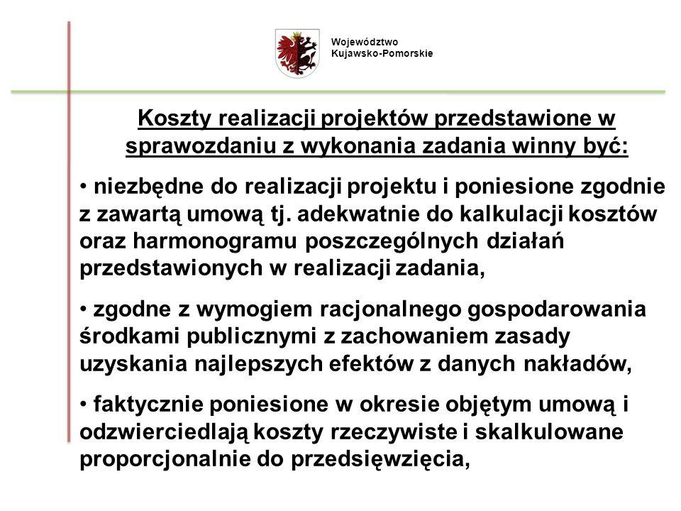 Województwo Kujawsko-Pomorskie. Koszty realizacji projektów przedstawione w sprawozdaniu z wykonania zadania winny być: