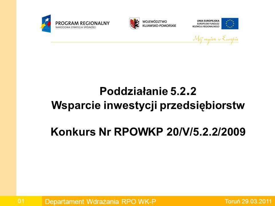 Poddziałanie 5.2.2 Wsparcie inwestycji przedsiębiorstw Konkurs Nr RPOWKP 20/V/5.2.2/2009