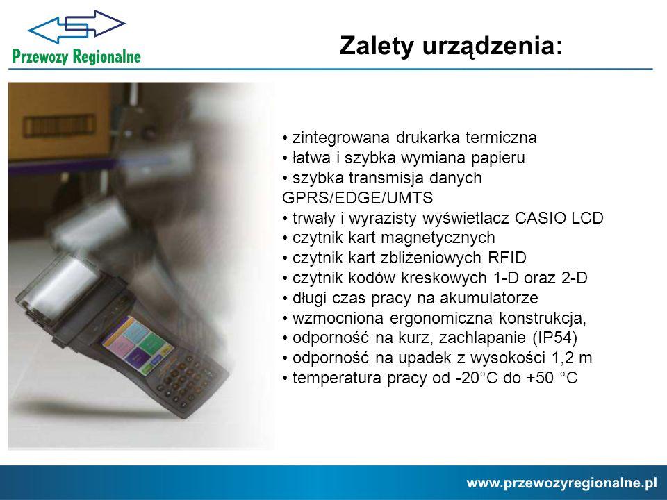 Zalety urządzenia: • zintegrowana drukarka termiczna