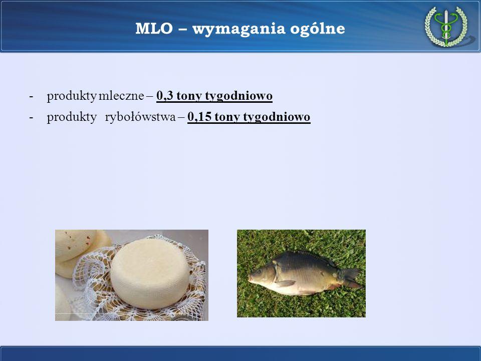 MLO – wymagania ogólne produkty mleczne – 0,3 tony tygodniowo