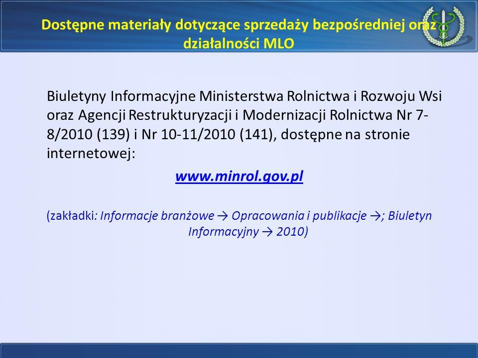 Dostępne materiały dotyczące sprzedaży bezpośredniej oraz działalności MLO
