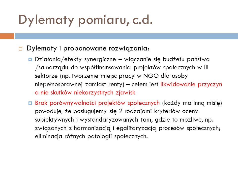 Dylematy pomiaru, c.d. Dylematy i proponowane rozwiązania: